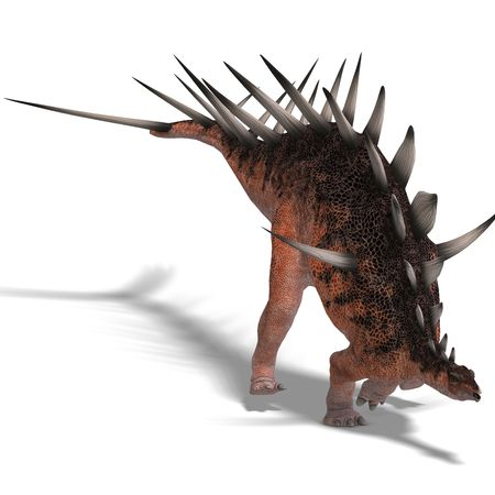assail: giant kentrosaurus dinosaur. 3D render with clipping and shadow over white