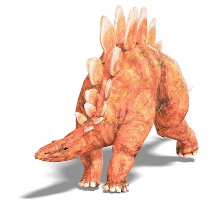 enormous: Dinosaur Stegosaurus. 3D render with clipping and shadow over white Stock Photo