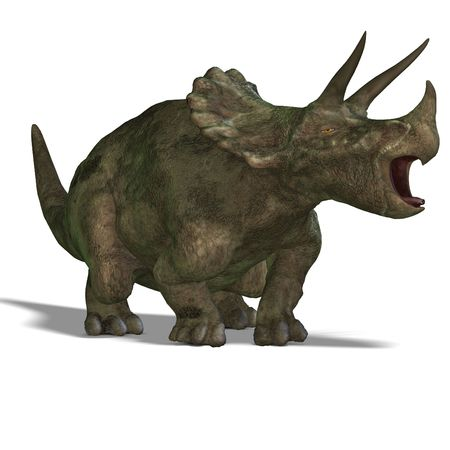 Dinosaur Triceratops. 3D render with clipping and shadow over white