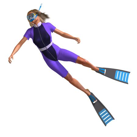 female diver in colorful diving suit. 3D render with clipping and shadow over white photo