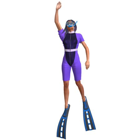 flotating: female diver in colorful diving suit. 3D render with clipping and shadow over white Stock Photo