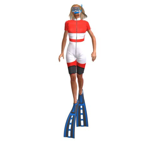 dunking: female diver in colorful diving suit. 3D render with clipping and shadow over white Stock Photo