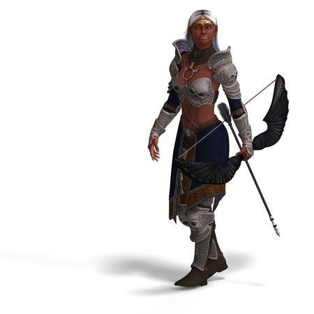 bowman: arciere elfo femmina fantasia con l'arco. rendering finita con percorso di clipping e ombre Archivio Fotografico