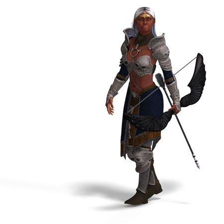 sighting: female fantasy archer elf with bow. rendering over with with clipping and shadow