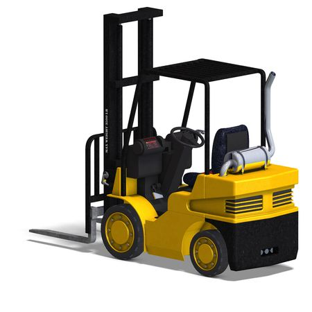 fork lifts trucks: rendering of a forklift with Clipping and shadow over white