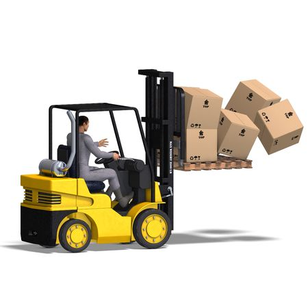 rendering of an accident with a forklift. With Clipping and shadow over white