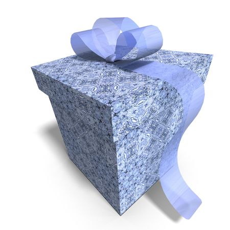 thoughtfulness: a colorful giftbox with a bow. 3D render with clipping and shadow over white
