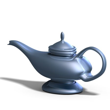 the magical lamp of Aladdin. 3D render with clipping and shadow over white Stock Photo