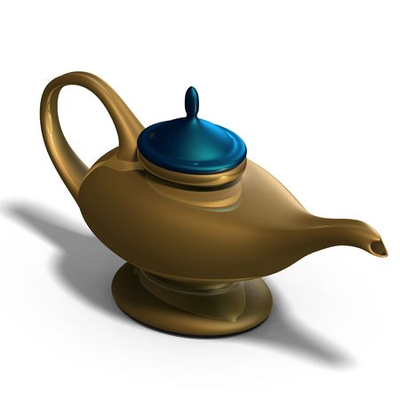 alladin: the magical lamp of Aladdin. 3D render with clipping and shadow over white Stock Photo