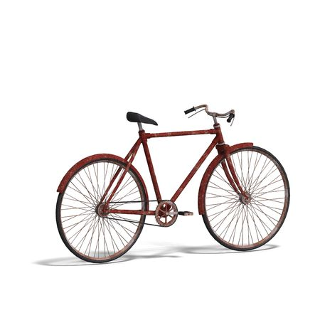 unused: rendering of a old unused bike with Clipping and shadow over white Stock Photo