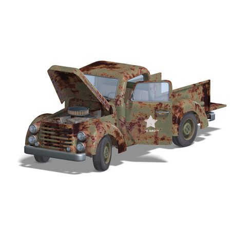 four wheel: a four wheel open pickup. 3D rendering with clipping and shadow over white