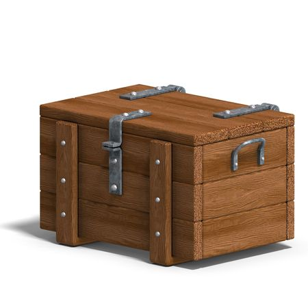 treasure trove: treasure chest. 3D rendering with clipping and shadow over white