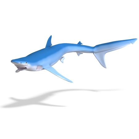 flotating: blue shark. 3D render with clipping and shadow over white