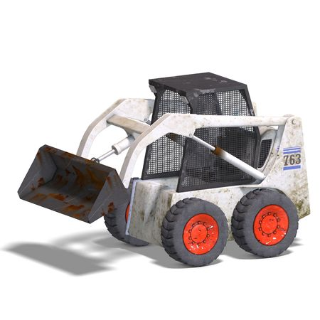 building lot: rendering of a skidloader with Clipping and shadow over white Stock Photo