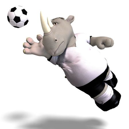 mammalia: funny rhino plays soccer. With Clipping