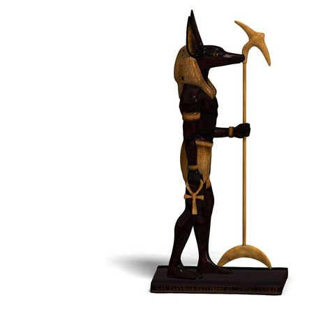 nile: rendering of anubis statue with Clipping ans shadow over white Stock Photo