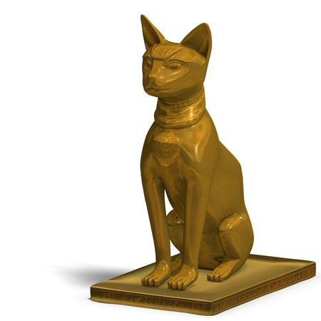 sceptre: rendering of the egyp cat statue bast with Clipping and shadow over white
