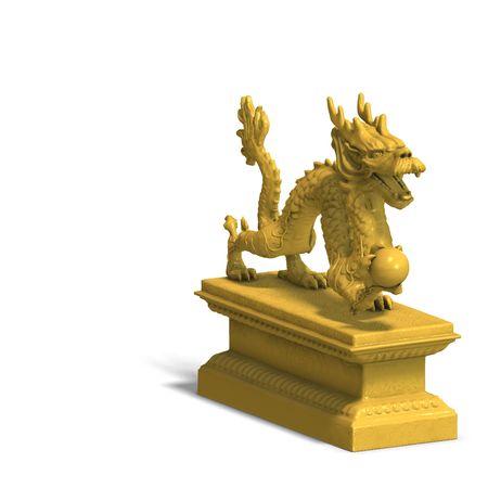 een gouden draak met een bal. 3D renderen met knippen en schaduw over Wit  Stockfoto