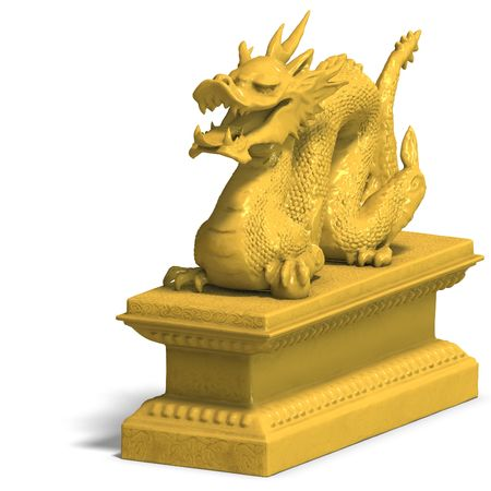 a golden dragon with a ball. 3D Render with clipping and shadow over white photo