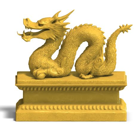 harridan: un drag�n de oro con una pelota. Render 3D con trazado de recorte y la sombra sobre el blanco
