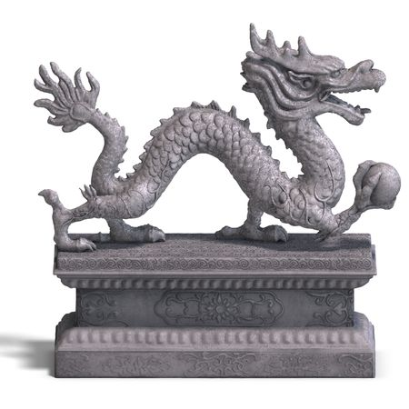 wyvern: a stone dragon with a ball. 3D Render with clipping and shadow over white Stock Photo
