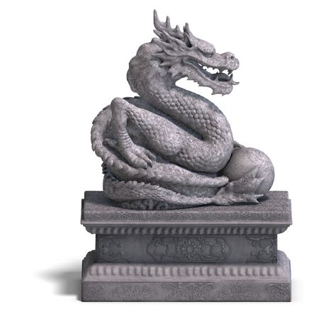 mojo: a stone dragon with a ball. 3D Render with clipping and shadow over white Stock Photo