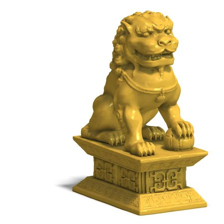 whelps: chines fu dog in gold. 3D Render with Clipping and shadow over white