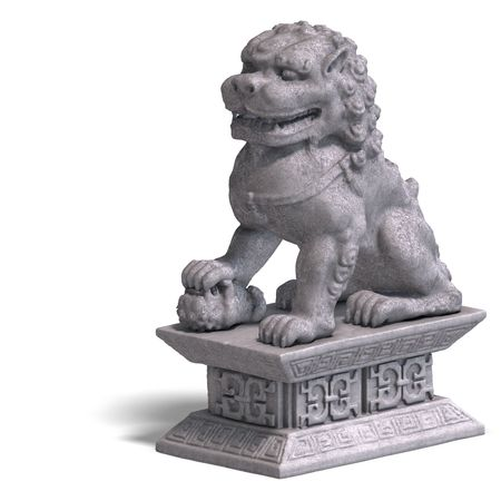whelps: chinese fu dog made out of stone. 3D Render with Clipping and shadow over white Stock Photo