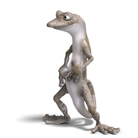 plushy: funny toon gecko. 3D render with clipping and shadow over white