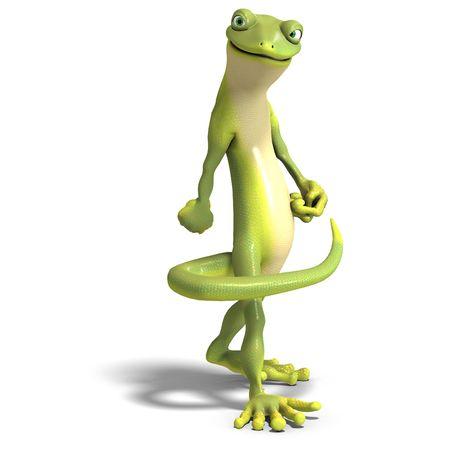 salamandra: Gecko batall�n divertido. 3D render con trazado de recorte y la sombra sobre el blanco