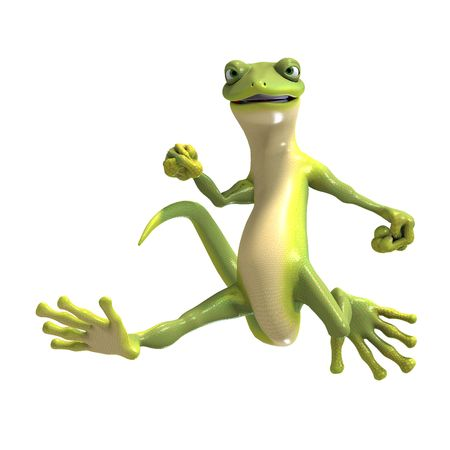 saltation: funny toon gecko. 3D render with clipping and shadow over white