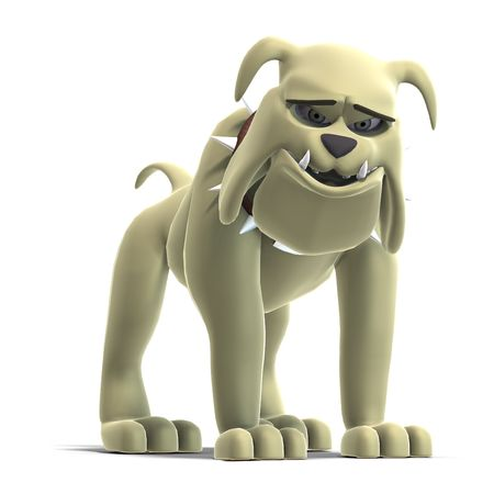 cheerless: a smart comic dog. 3D render with clipping and shadow over white Stock Photo