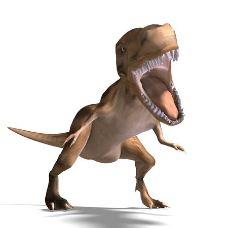 vigorousness: T-Rex. 3D render with clipping and shadow over white Stock Photo