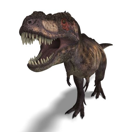 corrode: T-Rex. 3D render with clipping and shadow over white Stock Photo