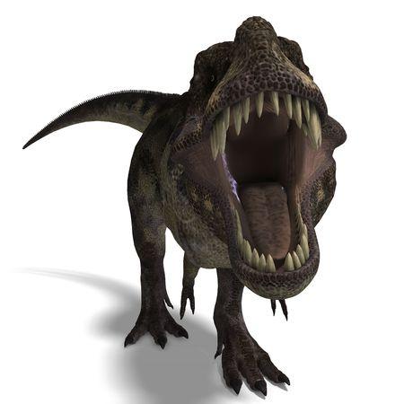 dinosauro: T-Rex. 3D render con ritaglio percorso e ombra su bianco Archivio Fotografico