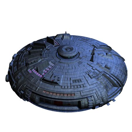 starship: an alien mothership. 3D render with clipping and shadow over white Stock Photo
