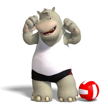 jubilate: rendering of a hippo who plays volleyball. With Clipping Stock Photo
