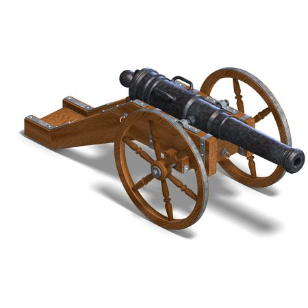 chemical weapons: field artillery cannon. 3D rendering with clipping and shadow over white