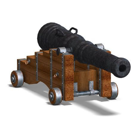 ship cannon. 3D rendering with clipping and shadow over white photo
