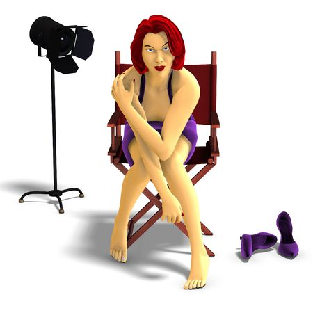 famous actress: 3D rendering of sexy cartoon girl in a movie set Stock Photo