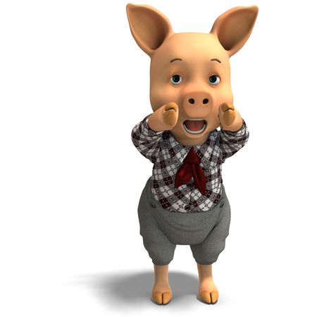 cerdo caricatura: Representación 3D de un cerdo de dibujos animados cute Foto de archivo