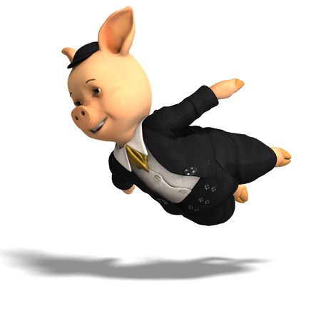 cochinos: Representaci�n 3D de un cerdo de dibujos animados cute Foto de archivo