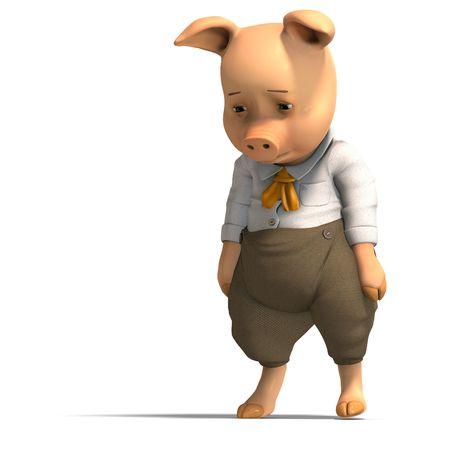 3D rendering of a cute cartoon pig photo