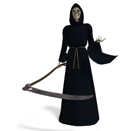 perish: 3D rendering of the deadly reaper withand shadow over white Stock Photo