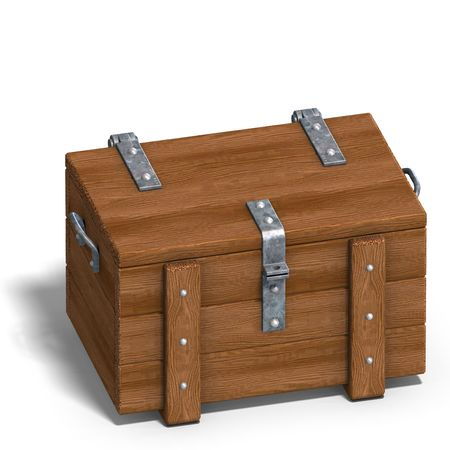 treasure trove: treasure chest. 3D rendering with  shadow over white