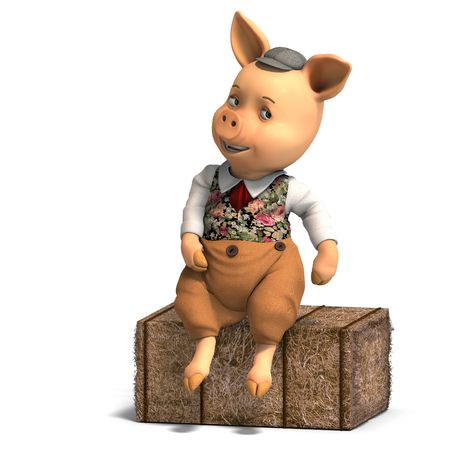 mammalia: 3D rendering of a cute cartoon pig with shadow over white Stock Photo