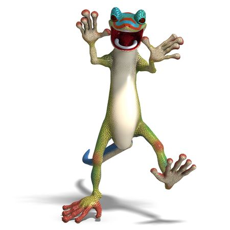 upright: funny toon gecko. 3D render with  shadow over white