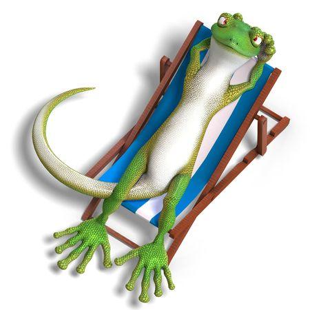 Gecko batall�n divertido. 3D render con sombra sobre blanco