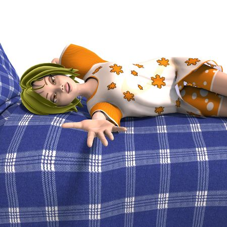 3D rendering of a young and sweet cartoon teen  photo