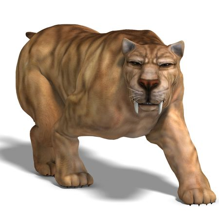 excursion: saber-toothed tiger. 3D render
